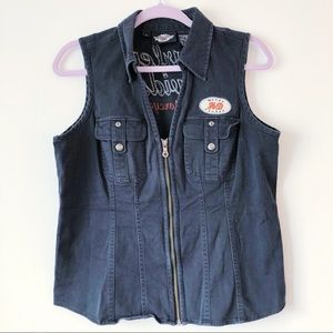 Harley-Davidson black denim zip up vest